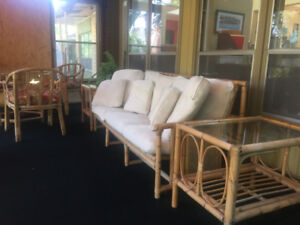 Rattan Indoor Patio Set - couch, table, chairs & end tables