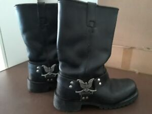LEATHER MOTORCYCLE BOOTS, MEN'S SIZE 8