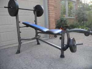 Weight Lifting Bench with Bar and Weights