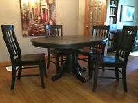 BRAND NEW Ebony Hardwood Dining Room Table and Chair Set
