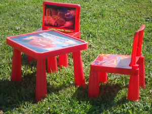 Cars Plastic Table with 2 Chairs