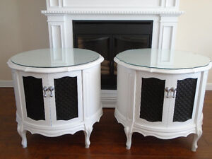 GLAMOUROUS WHITE FRENCH PROVINCIAL DRUM TABLES *** CAN DELIVER