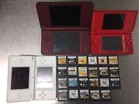 3 x Nintendo DS & DS XL games console & 24 games