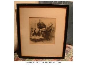 """Nothing but the Truth"" Courtroom LITHO PRINT 1940s-1950s"