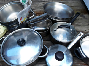 Stainless steel pots and pans   .and frying pans   .. runnymede