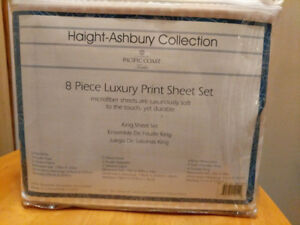 King size 8 piece luxury bed sheets Brand New