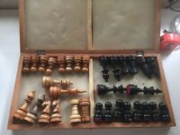 Tournament Size Chess Pieces and Board, Wooden