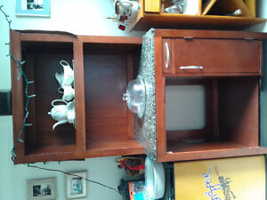 Kitchen hutch with marble counter top