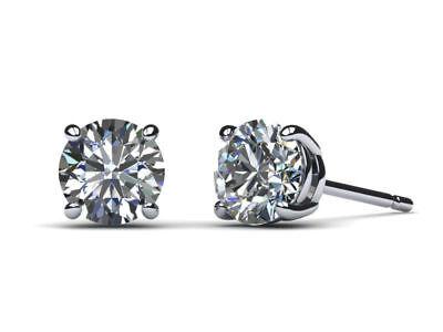 ROUND DIAMOND STUD EARRINGS D VS2 2 CARAT 14 K WHITE GOLD PRONG SET FINE SPARKY 2 Carat Fine Prong