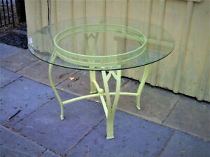 nice glass dining table -refinished