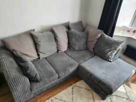 Corner sofa, 2 seater and pouffe