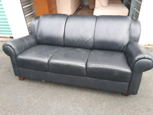 Black Authentic Leather Couch **Delivery Included