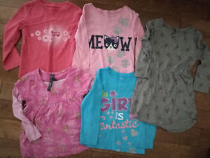 5 Toddler Girl Long Sleeve Tops, Size 4T