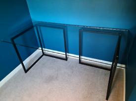 Habitat Nic glass and black metal trestle desk