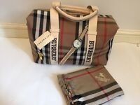 New BURBERRY Handbag, scarf & watch XMAS GIFT SET! BARGAIN!£100