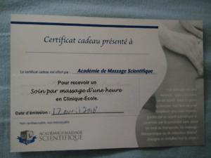 Certificat cadeaux pour un massage (ÉCHANGE DON NOURRITURE)