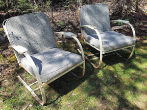 Pair Mid Century Metal Outdoor Chairs w/Cushions