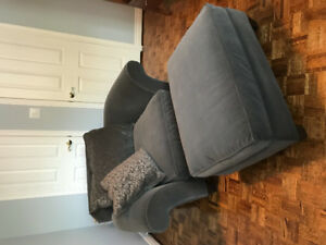 Gray velour chair with ottoman