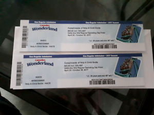Two Canada's wonderland tickets