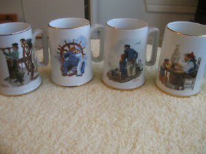 SET of FOUR SEA-RELATED VINTAGE NORMAN ROCKWELL CHINA STEINS
