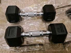 Rubber Hex Dumbell pair - 3kg