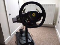 Ferrari 458 thrustmaster wheel & pedal xbox 360 comes with wheel stand