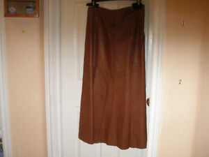 New Long Brown Leather Skirt
