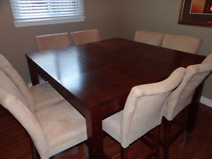 Bar Height Dining Table, Chairs, Sideboard