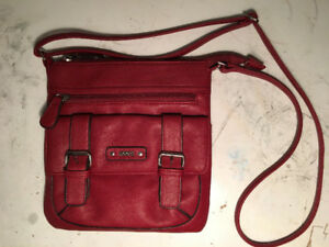 Roots Faux-Leather Crossbody Bag in Red