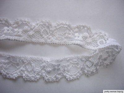 10 Lfm  elastische Spitze 0,50€/m weiß 2,2cm breit AO77
