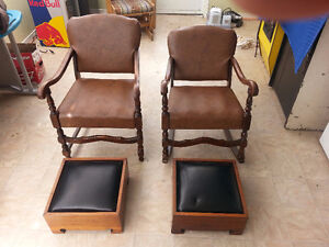 2 Antique Chairs with Stools