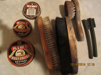 BRUSHES AND OLD SHOE PASTE CANS ( COLOR )