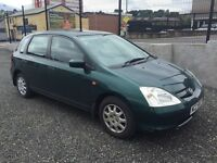 2002 Honda Civic 1.4 SE 5 door with only 81,000 miles & May 17 MOT