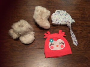 Baby items - diaper bag, toys, boots, hats, fleece snow suit