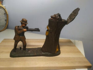 Vintage Cast Iron Teddy and the Bear Coin Bank