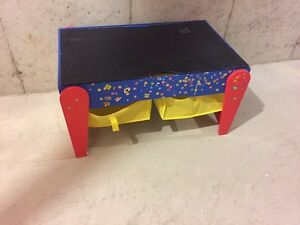 kids wood playtable with draws