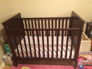 Solid Wood Crib-Dark Brown
