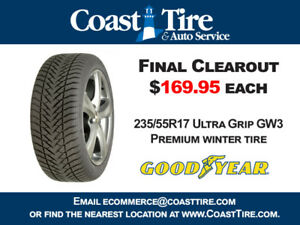 Final Clearance - New 235/55R17 Goodyear GW3 Winter Tires