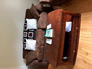 Couche and love seat $300, coffe table, filing cabinet, beds...