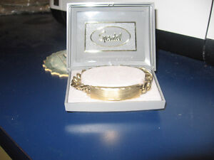 SPEIDEL MENS ID BRACELET  GOLD TONE WITH BRUSHED PLAQUE