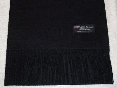 100% Cashmere Scarf Soft 72X12 Solid Black Scotland Wool Check Plaid Wrap Men