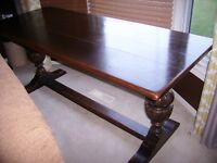 Solid wooden refectory dining table
