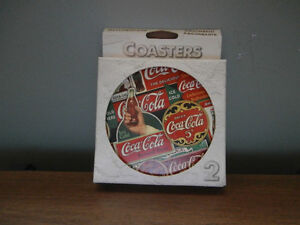 2 PK NATURAL STONE COCA COLA COASTERS