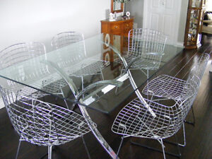 Designer Antique Glass Table & Chrome Chairs from approx. 1962