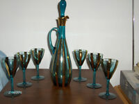 Crystal Blue/Gold Wine Decanter set with 6 glasses