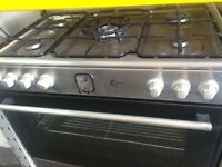 Stainless steel flavel 90cm five burners dual fuel cooker grill & fan oven good condition with guara