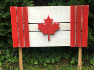 Wooden Canadian Flag.
