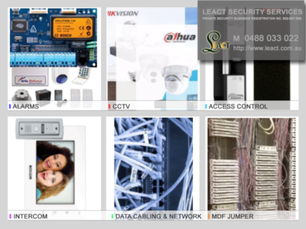 Data cabling or MDF, Alarms, CCTV, Intercom and Access Control