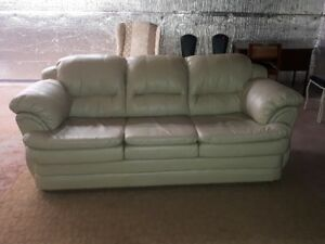 cream coloured leather couch