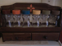 1970s spice rack and glass bottles